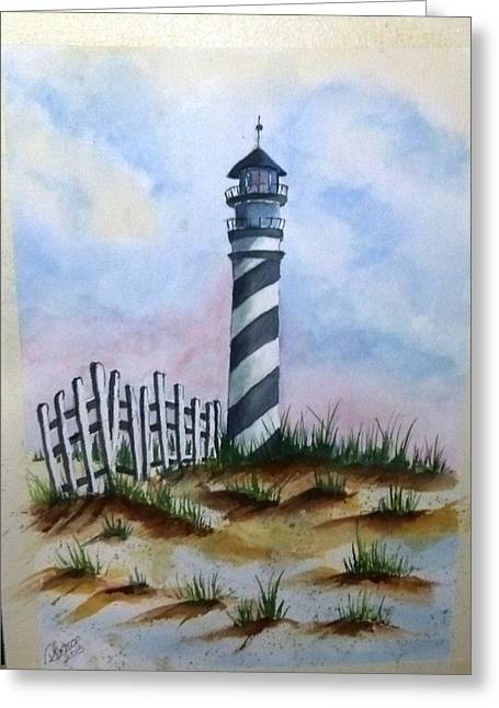 Ron's Lighthouse Greeting Card by Richard Benson
