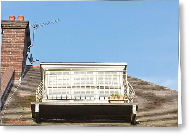 Roof Balcony Greeting Card by Tom Gowanlock