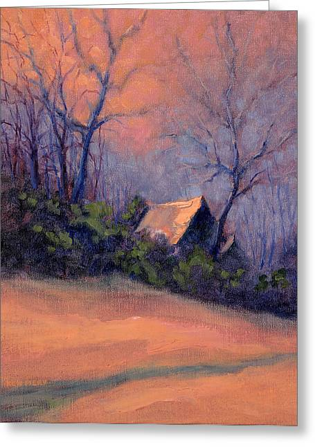 Roof Reflection At Dusk Greeting Card