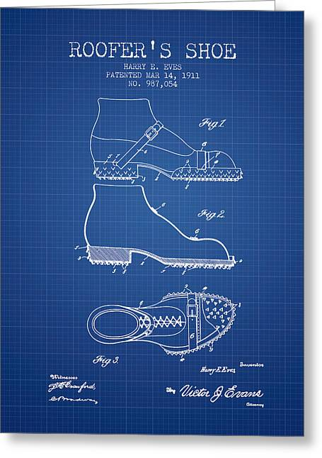 Roofers Shoe Patent From 1911 - Blueprint Greeting Card by Aged Pixel