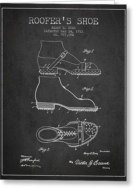 Roofers Shoe Patent From 1911 - Charcoal Greeting Card by Aged Pixel