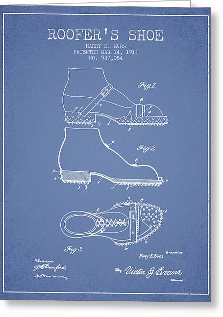 Roofers Shoe Patent From 1911 - Light Blue Greeting Card by Aged Pixel