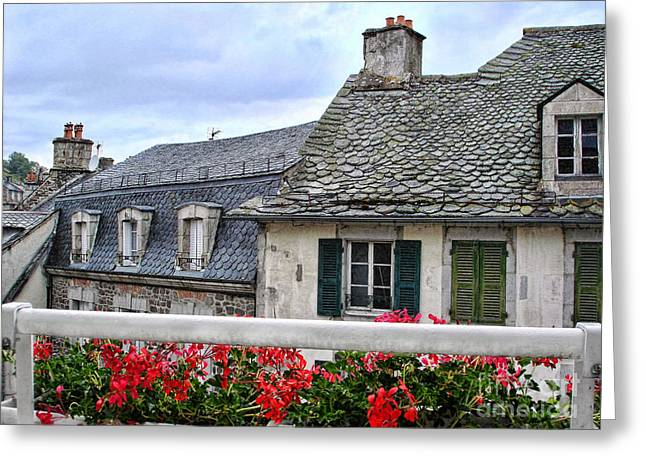 Roofs In The Cantal Auvergne France Greeting Card by Menega Sabidussi