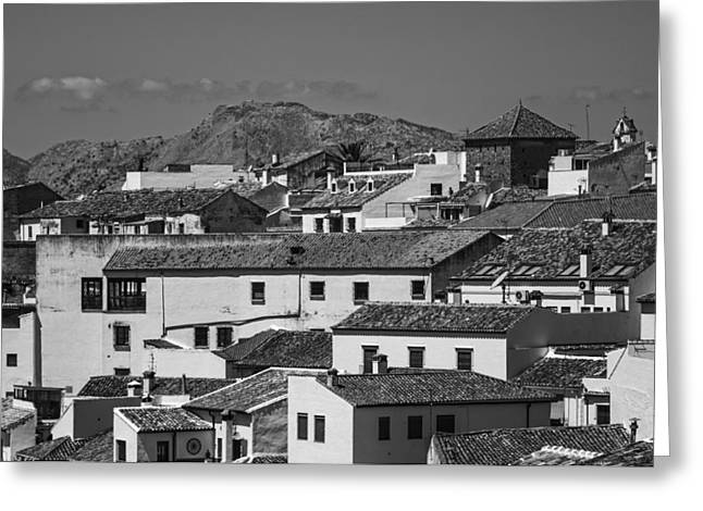Roofs Of Ronda. Andalusia. Black And White Greeting Card