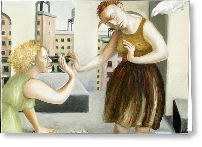 Rooftop Annunciation One Greeting Card by Caroline Jennings