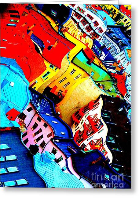 Rooftop Abstract - Bold Colors Greeting Card by Carol Groenen