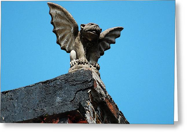 Rooftop Chained Gargoyle Statue Above French Quarter New Orleans Watercolor Digital Art Greeting Card by Shawn O'Brien