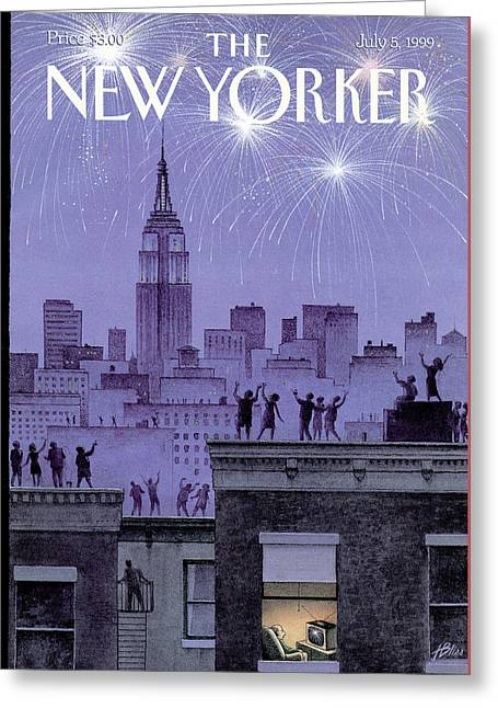 Rooftop Revelers Celebrate New Year's Eve Greeting Card by Harry Bliss