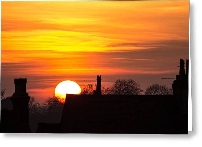 Rooftop Sunset Greeting Card by Dawn OConnor