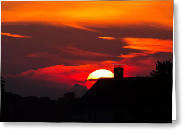 Rooftop Sunset Silhouette Greeting Card
