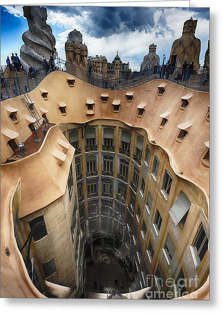 Rooftop With Chimneys Of Casa Mila Greeting Card