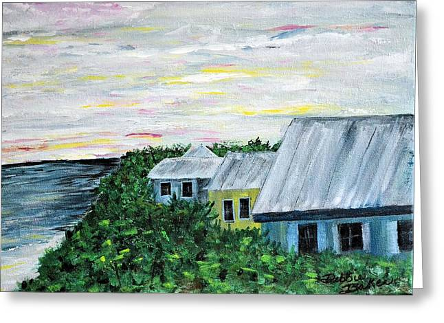 Rooftops At Sunset Greeting Card by Debbie Baker