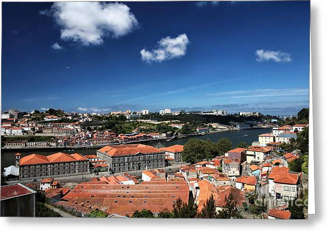 Rooftops In Porto Greeting Card by John Rizzuto