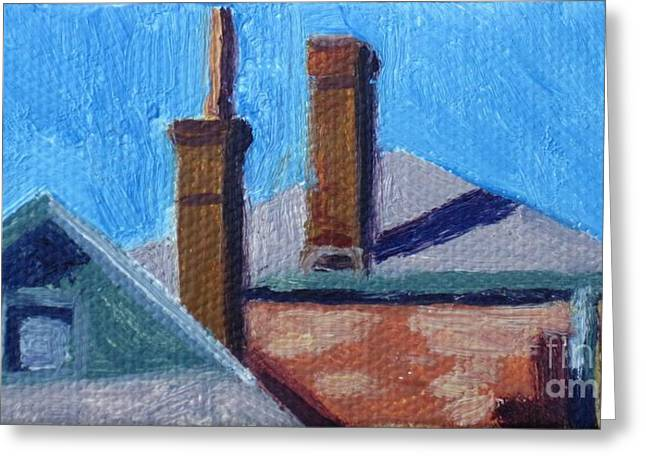 Rooftops On State Greeting Card by Katrina West