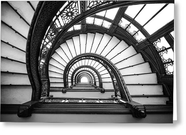 Rookery Building Oriel Staircase - Black And White Greeting Card