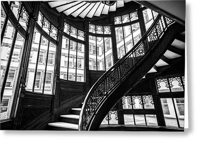 Rookery Building Winding Staircase And Windows - Black And White Greeting Card