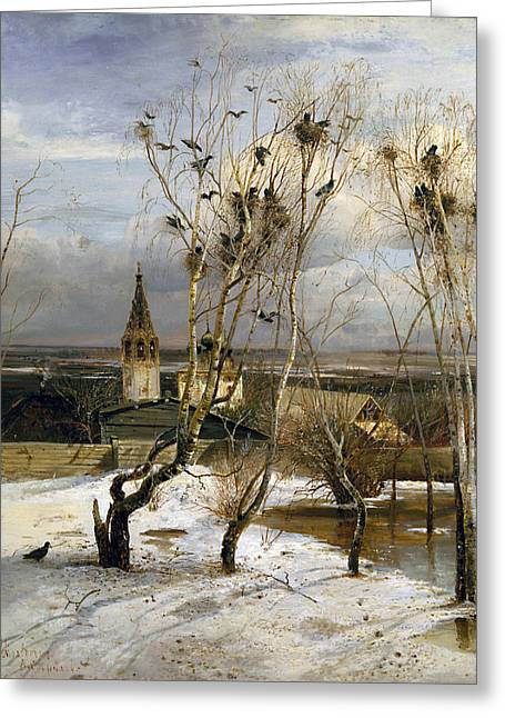 Rooks Have Returned Greeting Card by Alexei Savrasov