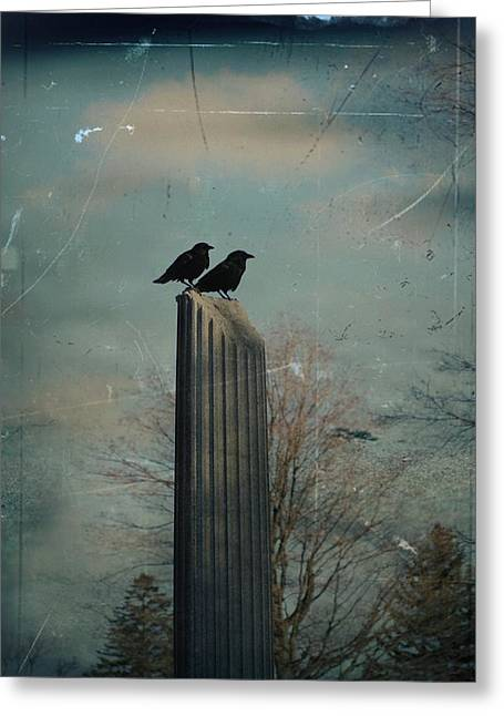 Room For Two Crows On A Column  Greeting Card by Gothicrow Images