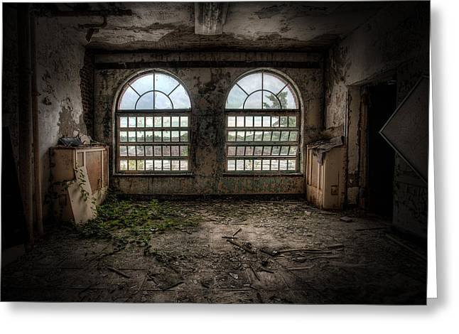 Room With Two Arched Windows Greeting Card by Gary Heller