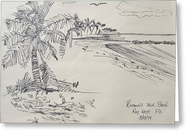 Roosevelt Blvd Beach  Key West Fla Greeting Card