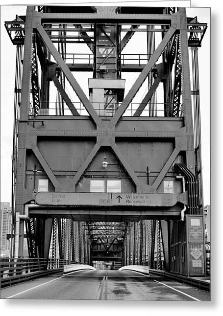 Roosevelt Island Bridge Bw Greeting Card