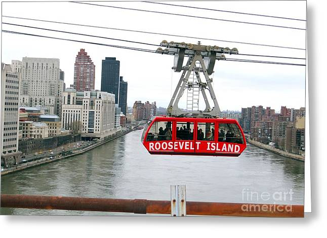 Roosevelt Island Tram Greeting Card by Ed Weidman