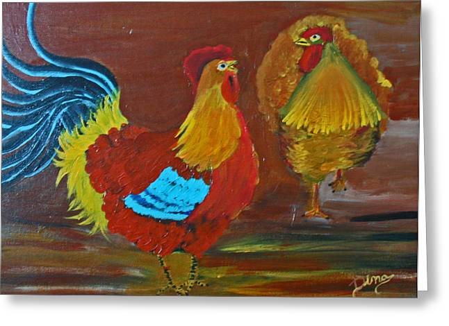 Rooster And Hen Greeting Card by Dina Jacobs