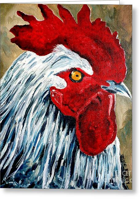 Greeting Card featuring the painting Rooster Doodle by Julie Brugh Riffey