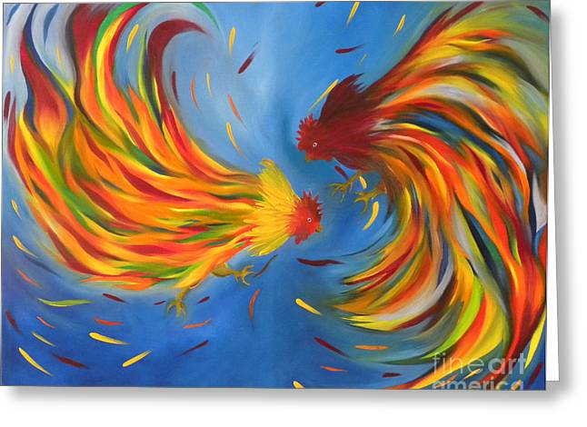 Greeting Card featuring the painting Rooster Fight by Fanny Diaz