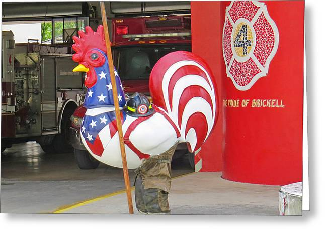 Rooster Fireman Greeting Card