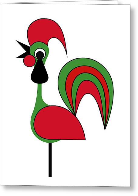 Rooster From Porto Greeting Card by Asbjorn Lonvig