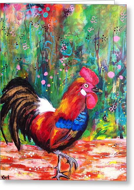 Rooster Greeting Card by Kim Heil