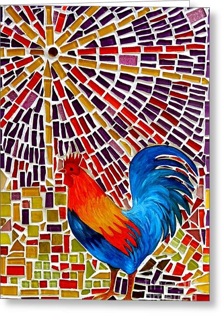 Rooster Mosaic Greeting Card by Caroline Street
