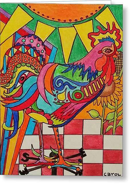 Rooster On Lookout  Greeting Card by Carol Hamby