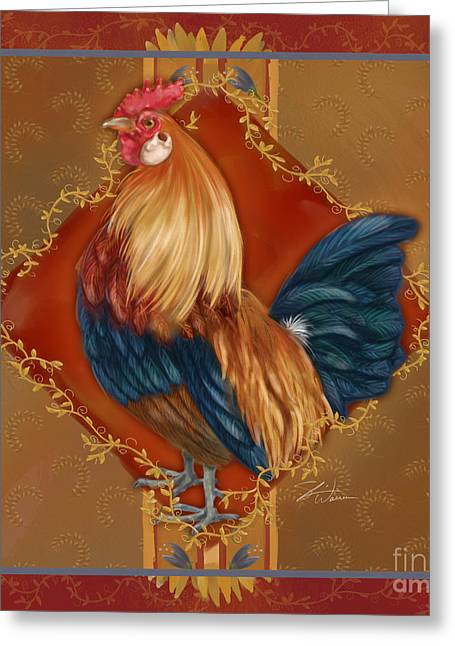 Rooster On Red And Gold I Greeting Card