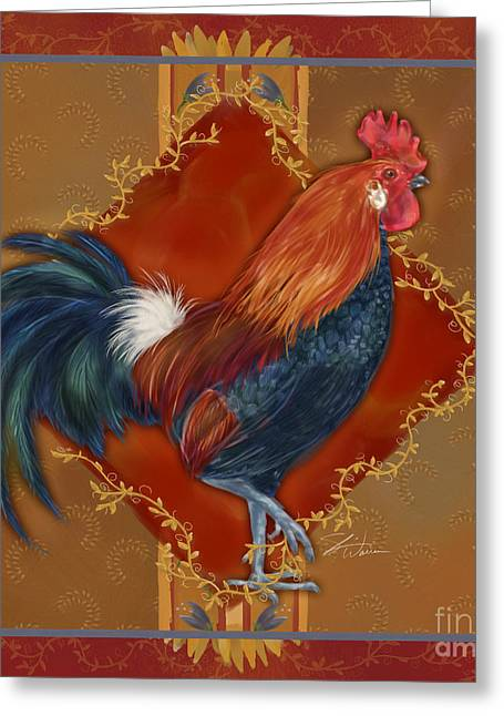 Rooster On Red And Gold II Greeting Card