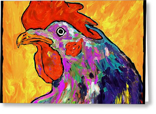 Rooster On Yellow Greeting Card by Dale Moses
