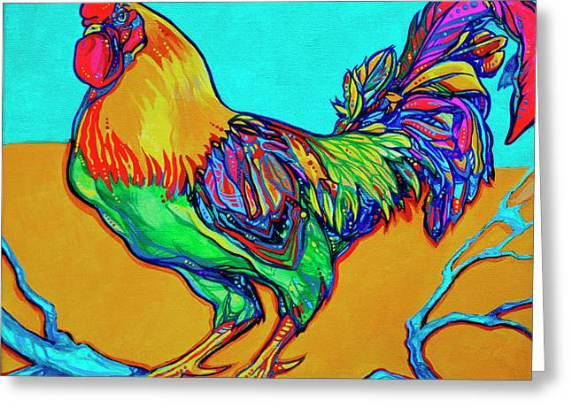 Rooster Perch Greeting Card by Derrick Higgins