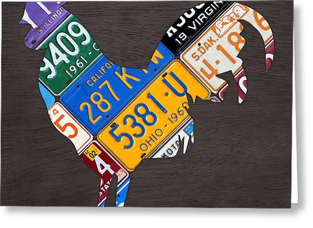Rooster Recycled License Plate Art On Gray Wood Greeting Card by Design Turnpike