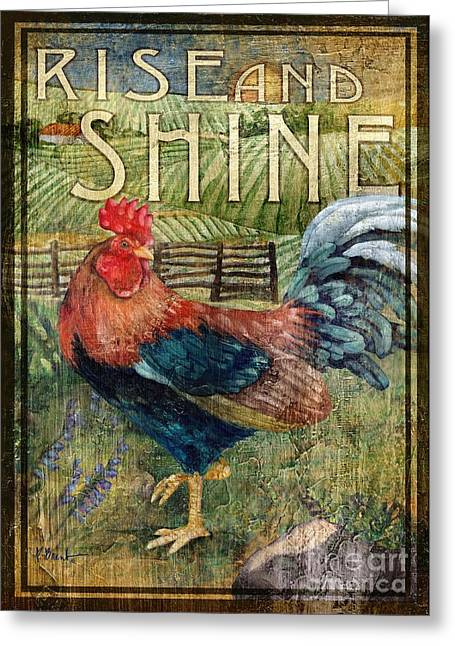 Rooster Signs 2 Greeting Card by Paul Brent