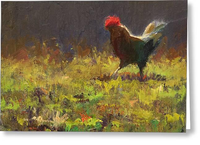Rooster Strut - Impressionistic Chicken Landscape - Abstract Farm Art - Chicken Art - Farm Decor Greeting Card