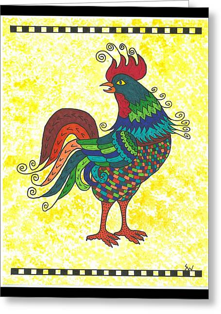 Greeting Card featuring the painting Rooster Strutting His Stuff by Susie Weber