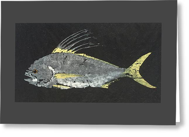 Gyotaku Roosterfish Greeting Card by Captain Warren Sellers