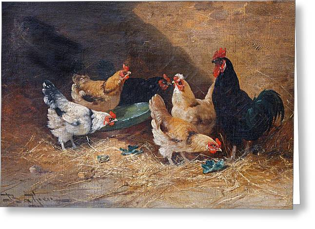 Roosters Circa 1880 Greeting Card