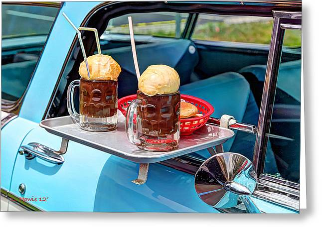 Root Beer Floats Greeting Card by Leanne Howie