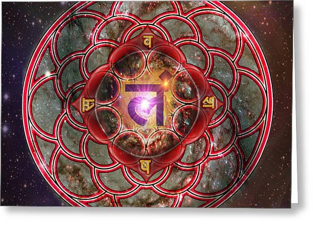 Root Chakra Muladhara  Greeting Card by Mynzah Osiris