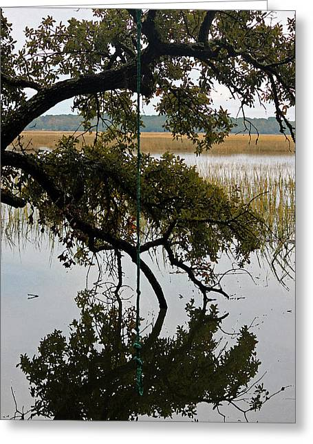Rope Swing Over The Marsh - Watercolor Greeting Card by Suzanne Gaff