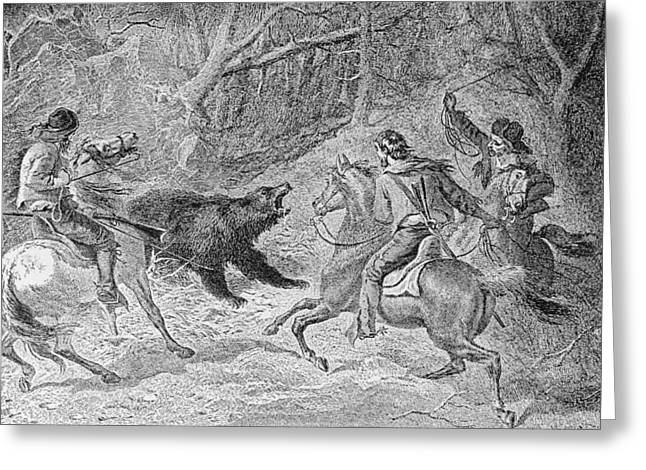 Roping A Grizzly, Illustration From Harpers Weekly, 1874, From The Pageant Of America, Vol.3 Greeting Card