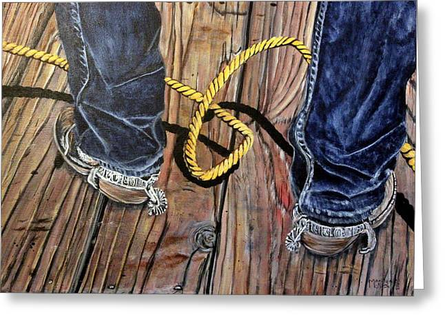 Roping Boots Greeting Card by Marilyn  McNish