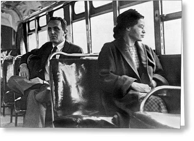 Rosa Parks On Bus Greeting Card by Underwood Archives